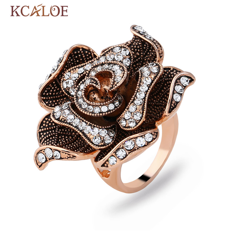 KCALOE Rose Gold Color Big Flowers Women Ring Bague Engagement Anillos Anel Crystal Rhinestone Vintage Wedding Rings Jewelry все цены