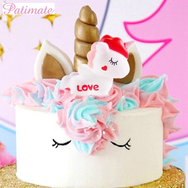 PATIMATE Birthday Unicorn Party Decor Accessories Supplies Wedding Cake Toppers Cakes Decorating Unicornio