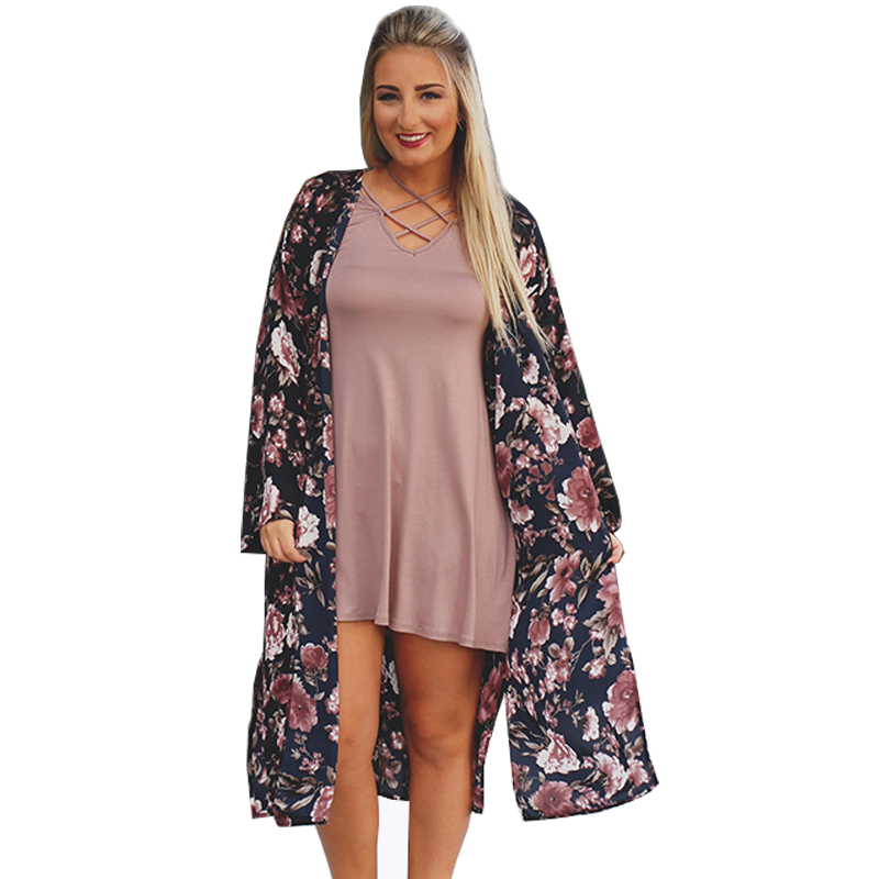 Women Summer Chiffon Blouses Boho Kimono Cardigan Floral Print Long Sleeve Casual Long Beach Cover Up Tops blusa feminino