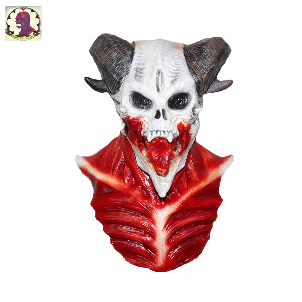 Hot Sale Latex Full Head Baphomet Horror Demon Costume For