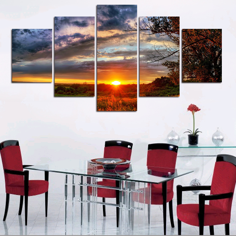 Unframed 5 Piece Landscape Hd Print Trees Modern Home Wall