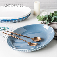 ANTOWALL Nordic ins style ceramic dinnerware home white and blue 12inch super large fish dish stripes oval dish plate|Dishes & Plates|   -