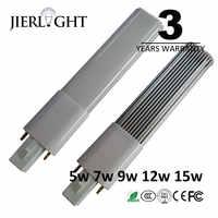 3 años de garantía, 5 w 7 w 9 w 12 w 15 w G23 llevó la luz de bulbo G23 lámpara led reemplazo de luz pl
