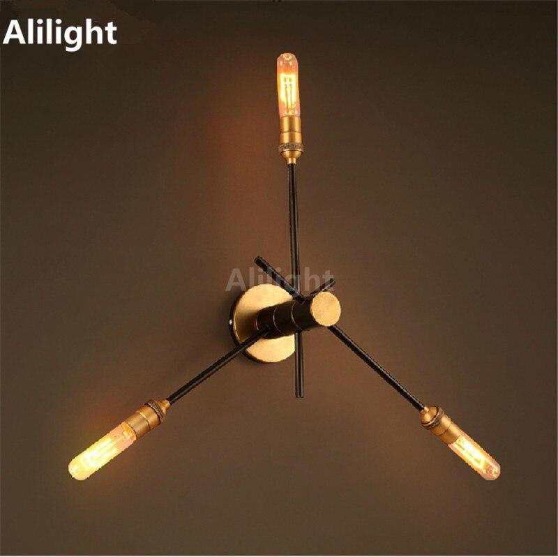 Loft Retro Adjustable Industrial Pipe Wall Lamp Vintage Edison Wall Light Copper Lampara Abajur ...