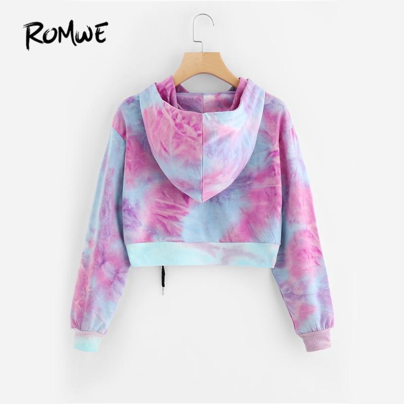 3a236fef7b5 Romwe water color crop hoodies multicolor casual women drawstring hooded  sweatshirt autumn tie dye long sleeve hoodies
