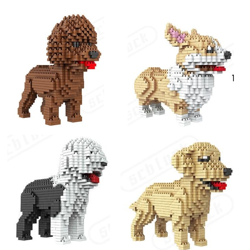 Cute Dog Mini Blocks Plastic Building Toy Animal Poodle Model Brinquedos golden retriever Toys for Children Lovely Girls Gifts