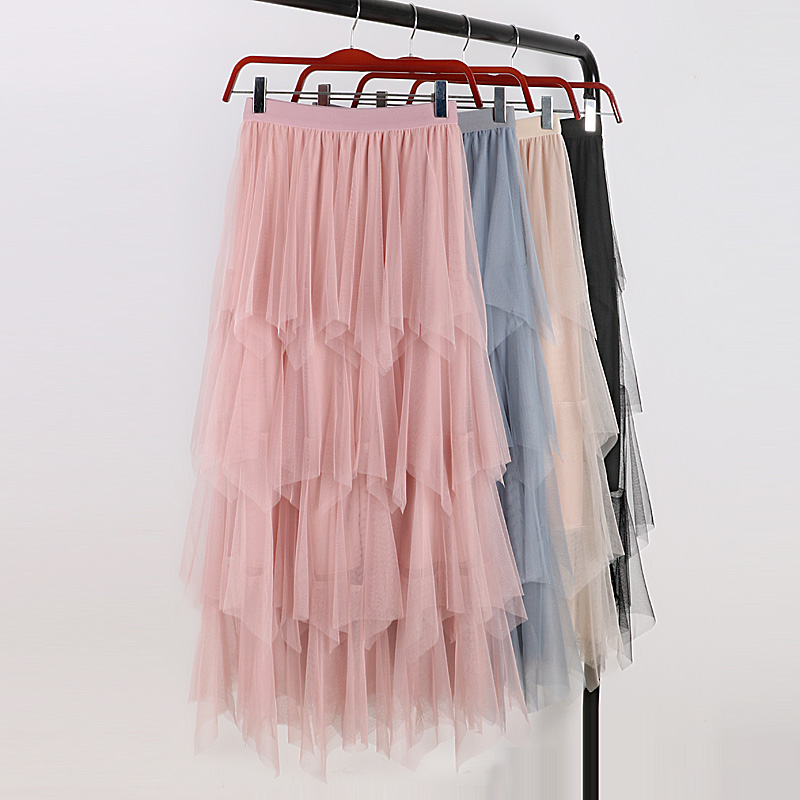 2019 New Spring High Waisted Pleated Tulle Skirts 5 Layers Womens Fairy Ruffles Mesh Party Skirt Cake Tulle Skirt for Women