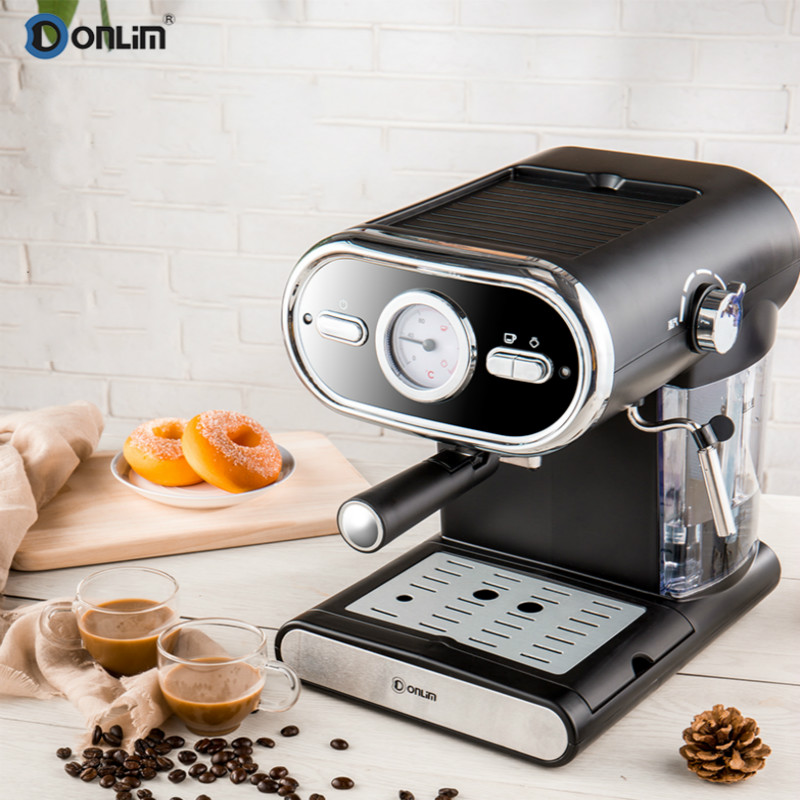 Italian Coffee Machine Semiautomatic Family Visible Temperature Dial Steam Pumping Foaming Temperature Overheat Protection