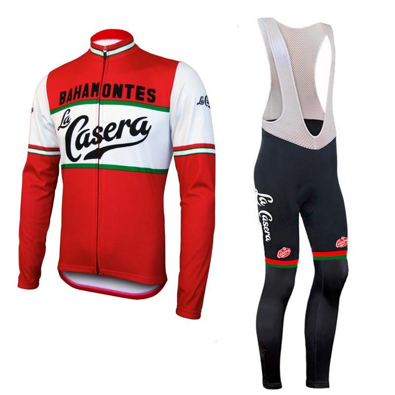 Men cycling jersey <font><b>set</b></font> long sleeve winter <font><b>autumn</b></font> spring 9d gel pad de la bici ropa ciclismo red cycling clothing