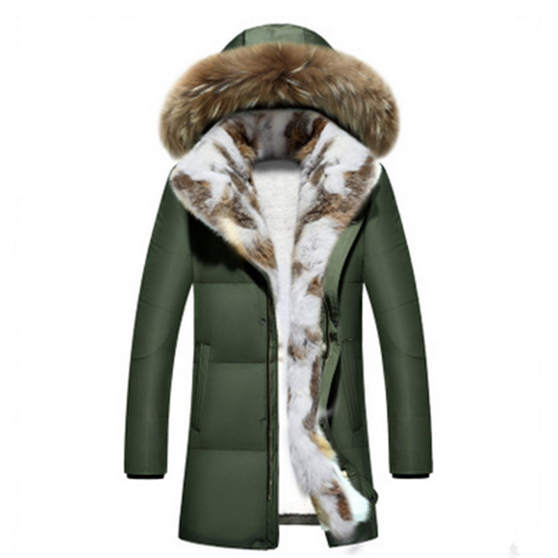 2017 new couple down jacket men and women in the long pattern Rex rabbit fur thick winter coat