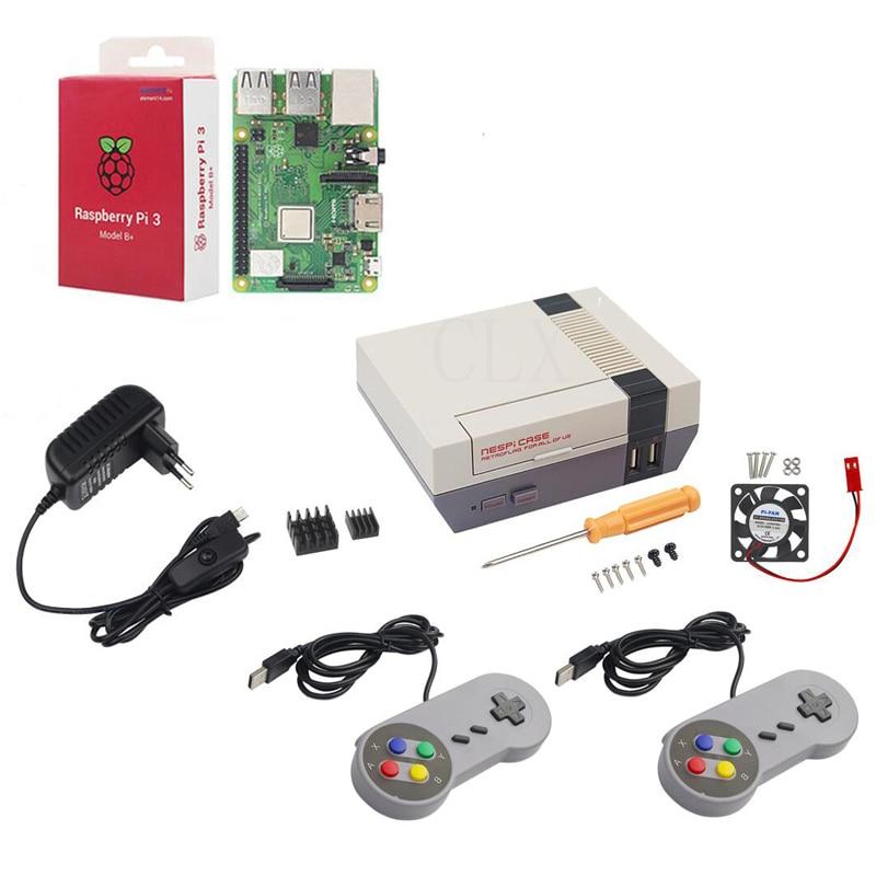 NESPi CASE+ Raspberry Pi 3 Model B/B+ Kits + 3A Power Adapter + Heat Sink + 2 Gamepad Controller for Retropie цепь 150 qj150 3a b