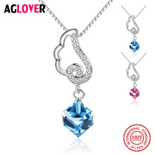 100% 925 Sterling Silver Necklace Box Chian with Austrian Crystal AAA Zircon Elegant Square Pendant Necklace for Women Jewelry elegant crystal zircon pendant necklace silver white red