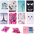 Fashion Rose Eye Tower Pattern PU Leather Flip Case For Samsung Galaxy Tab A 8.0 SM-T350 T350 Cover Smart Tablet With Card Slot