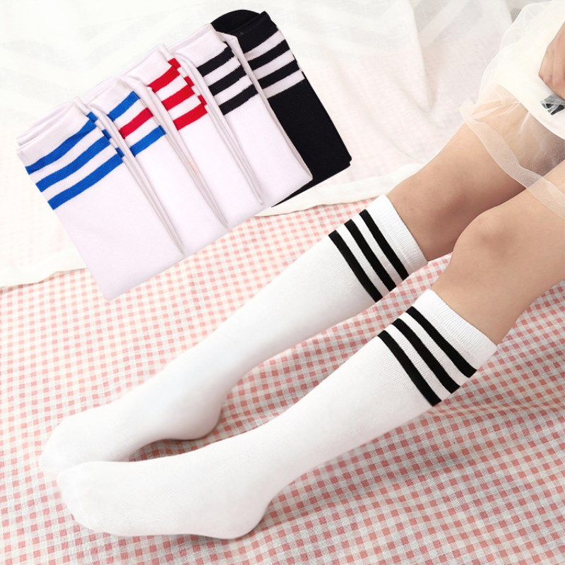 Jeseca Womens Sexy Long   Socks   Female Stripes Knee High Long Warmer   Sock   Cotton School Students Sports Football Sox 7 Colors Hot