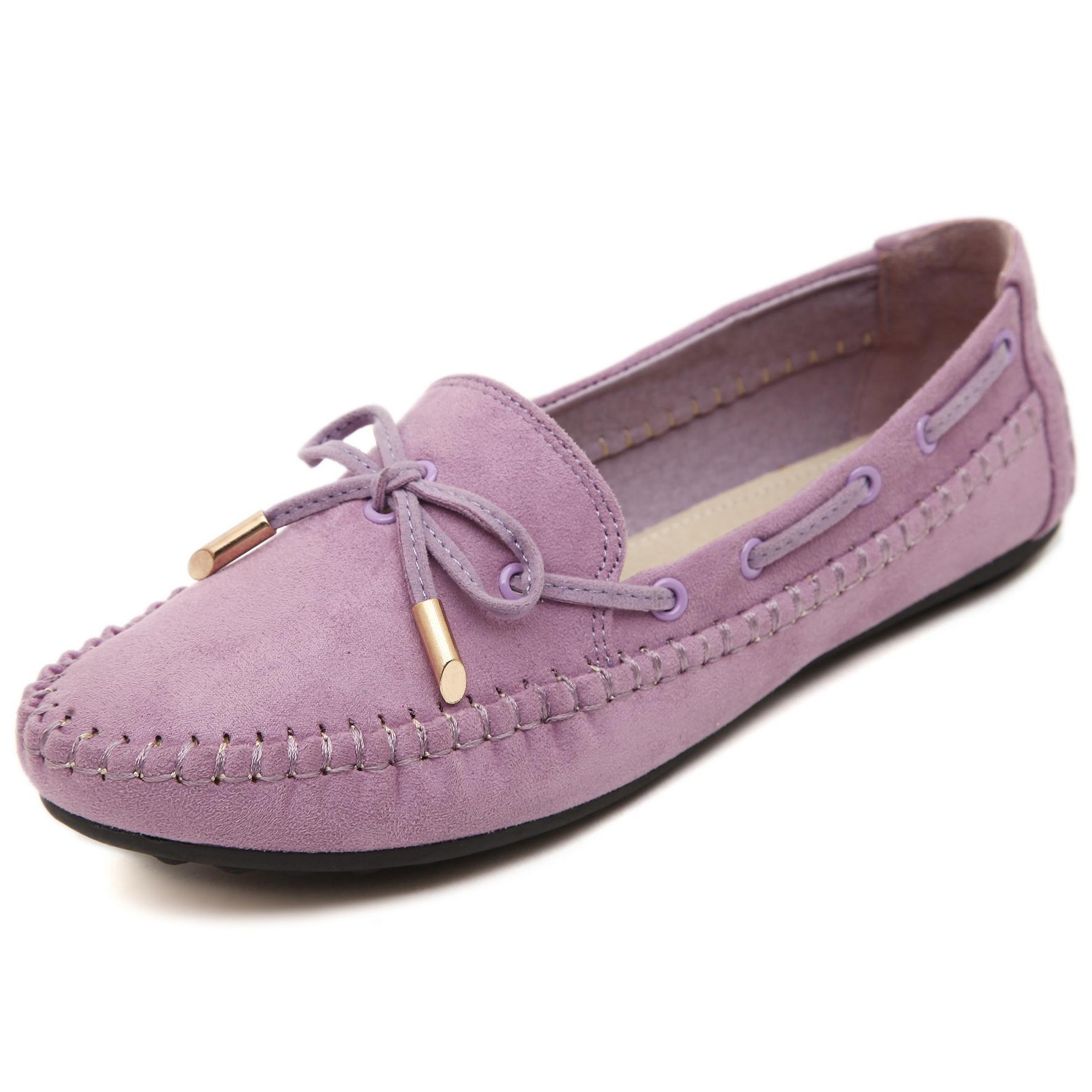 Moccasin Women Flats Shoes Genuine Leather Loafers Ladies Round Toe Bow Ribbon Slip On Loafer Women Shoes Comfortable Flat 35~41 new round toe slip on women loafers fashion bow patent leather women flat shoes ladies casual flats big size 34 43 women oxfords