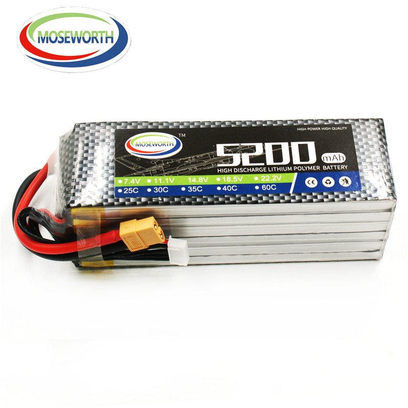 MOSEWORTH RC lipo battery 22.2v 5200mAh 30C for rc helicopter quadcopter airplane Li-Polymer batteria 6s akku