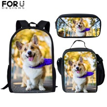 FORUDESIGNS School Bags 3pcs Welsh Corgi Pembroke Printed Orthopedic Satchel Backpack Book Bag Teenagers Girls Rucksack Mochilas
