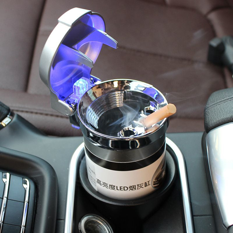 Color : C Red Blue Car Ashtray Gold Compatible With Jaguar Blue LED Indicator With Cover Car Interior Storage Box Black