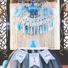 I am 1 Today, бумажный баннерный баннер на день рождения для маленьких мальчиков и девочек, украшение для первого дня рождения