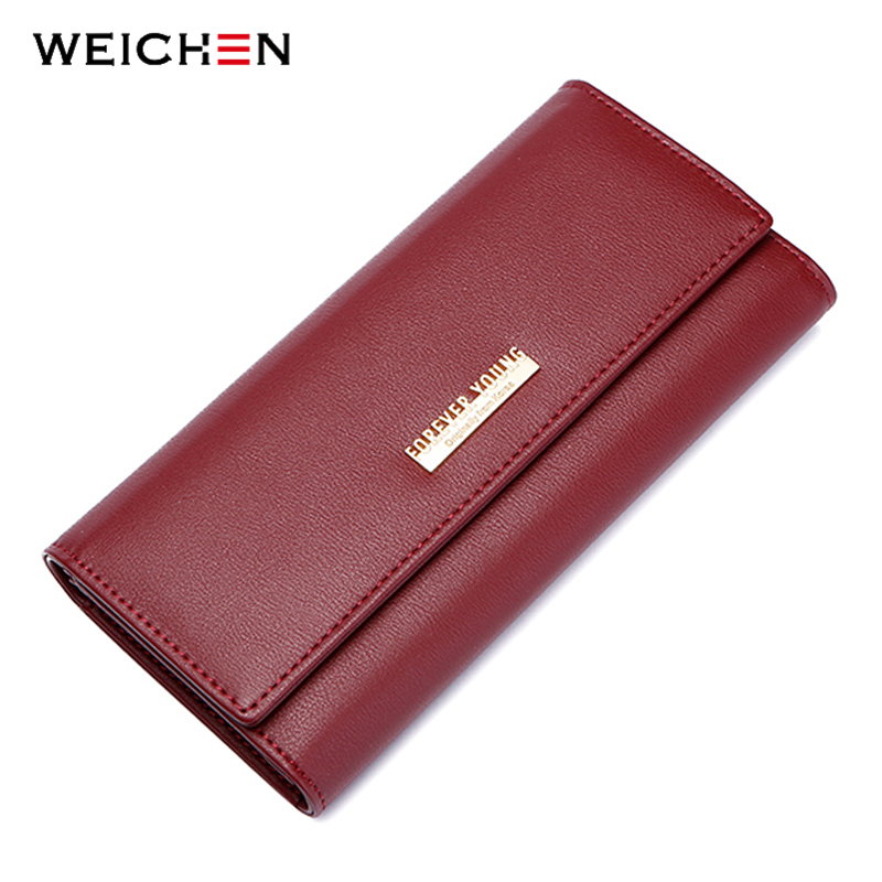 WEICHEN Brand Design Standard Long Wallets For Women Solid Hasp Coin Purse Ladies Fashion Card Holder Large Capacity Wallets