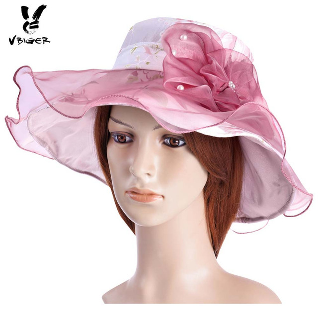 9a6a7a9f3f9 VBIGER Women Summer Anti-UV Sun Hat Outdoor Beach Hat Ladies Sunproof Wide  Brim Fashionable Organza Hats with Lace Flowers