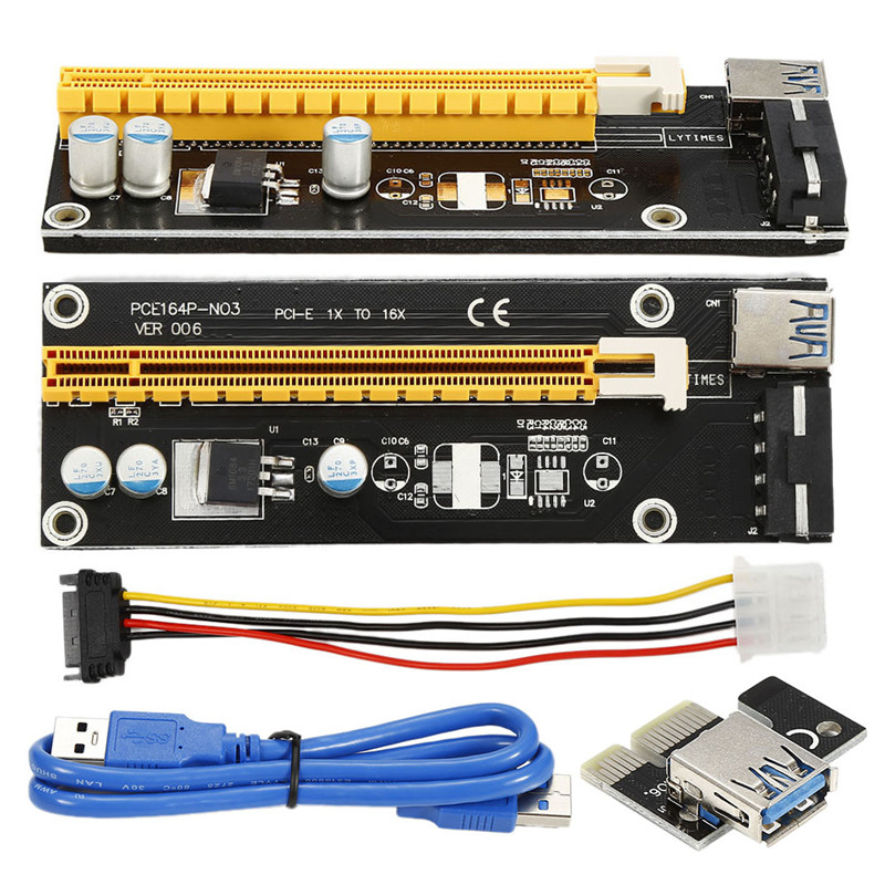 Centechia USB3.0 PCI-E Express 1x to 16x Adapter Extender Riser Card Power Cable PCI-E Express centechia 50cm pci express pci e 1x to 16x riser card extender pcie adapter usb 3 0 cable