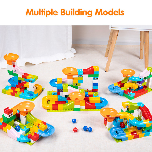 52Pcs Construction Marble Race Run Maze Balls Track Building Blocks Big Size Educational Bricks