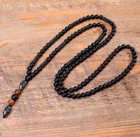 Pedra natural preto hematite escultura grânulo homens colar buda lava mala rosário de madeira contas longas colares vintage jóias