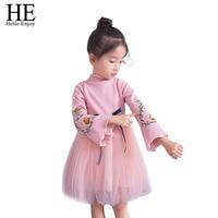 HE Hello Enjoy Girls Dress 2018 Princess Evening Dress Autumn Winter Fashion Knitted Embroidery Sweater Dress