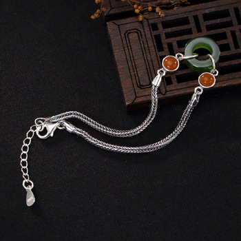 silver Thai silver inlaid hetian jade jade south red lady style restoring ancient ways joker silver bracelet wholesale