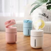 2000 mAh Mini Fan Air Humidifier USB Air Conditioner Night Light Ventilador Portable Table Fan Aroma Essential Oil Diffuser