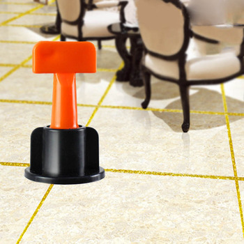 50pcs Plastic Flat Ceramic Leveler Floor Wall Construction Tools Reusable Tile Leveling System Kits CLH@8