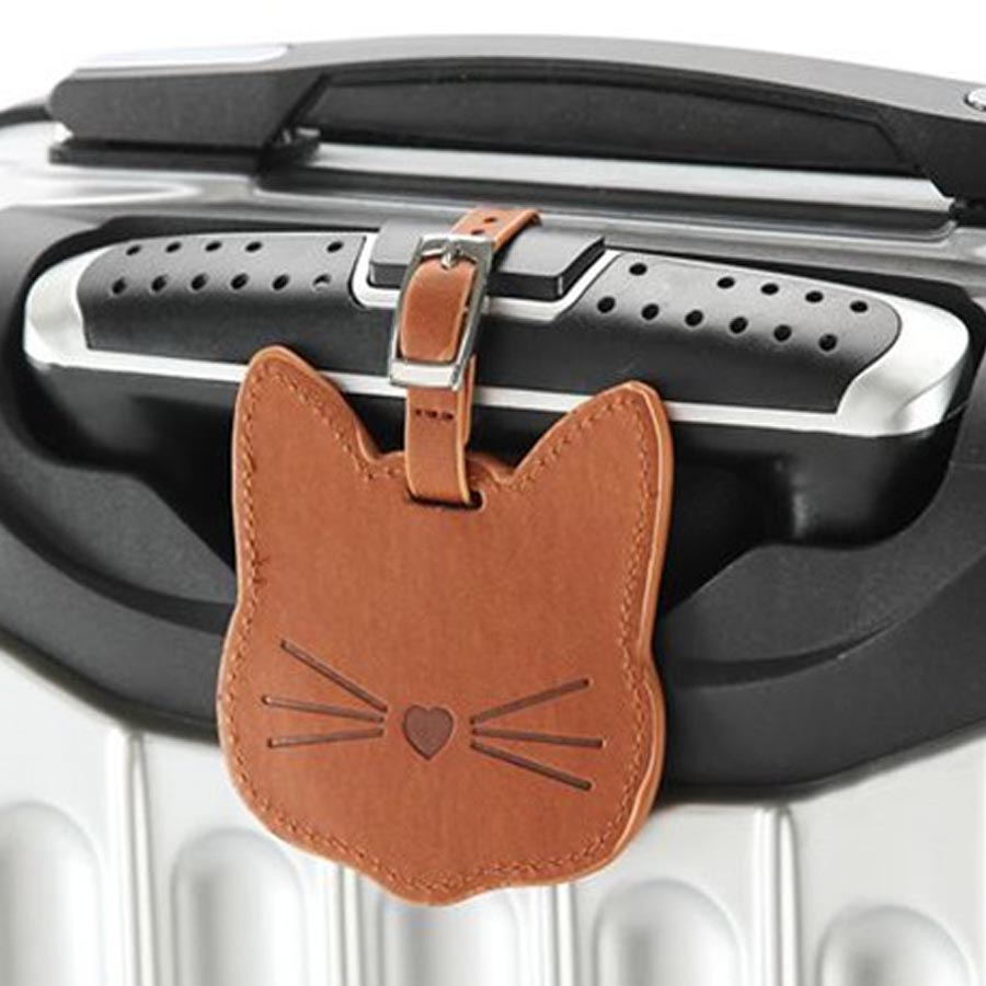 Personalized Lovely Cat Leather Suitcase Luggage Tag Label Bag Pendant Handbag Travel Accessories Name ID Address Tags LT12A