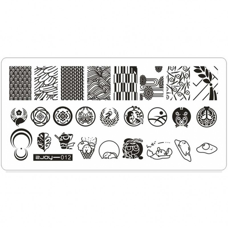 1Pc ZJOY Series Rectangle Nail Stamping Template Plates Backplane Quality Nail Art Image Stamp Plates Nail Stamp Tools 12 in Nail Art Templates from Beauty Health