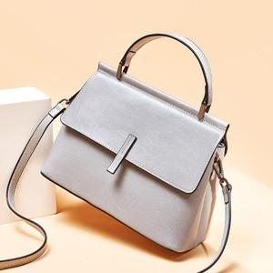 Image 3 - Zency 100% Genuine Leather Retro Brown Women Tote Bag Small Flap Daily Casual Shoulder Messenger Bags Black Grey Handbag