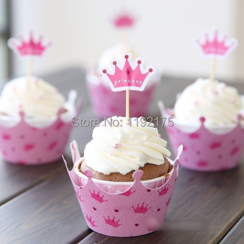 120pcs Pink Princess Crown Cake Girl Party Birthday Decorations Supplies Cupcake Wrappers