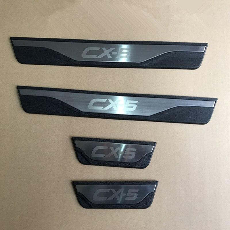 Mazda için CX-5 CX5 2013 2014 2015 2016 otomatik kapı eşiği tıkama plakası Trim koruma karşılama pedalı kapak Sticker araba Styling aksesuarları