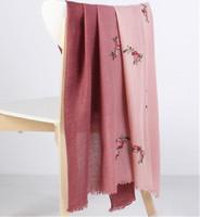 wool acrylic blend women fashion Ethnic style elegant embroidery gradient colors scarfs shawl pashmina 85x200cm small tassel