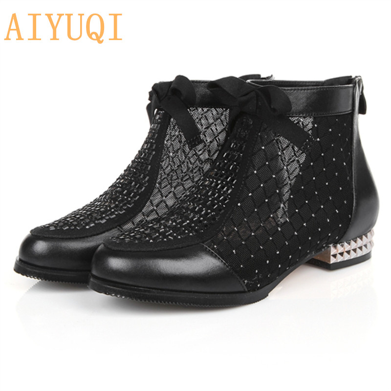 2019 New Genuine Leather Women s Summer Mesh Sandals Fashion Rhinestone Bow Lace Dress shoes big