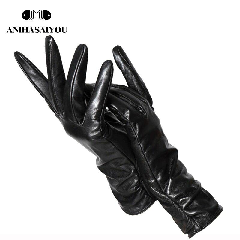 28 Cm Winter Sheepskin Gloves Female, Genuine Women Leather Gloves,multi-color Women's Winter Mittens,Simple Women Gloves -2081