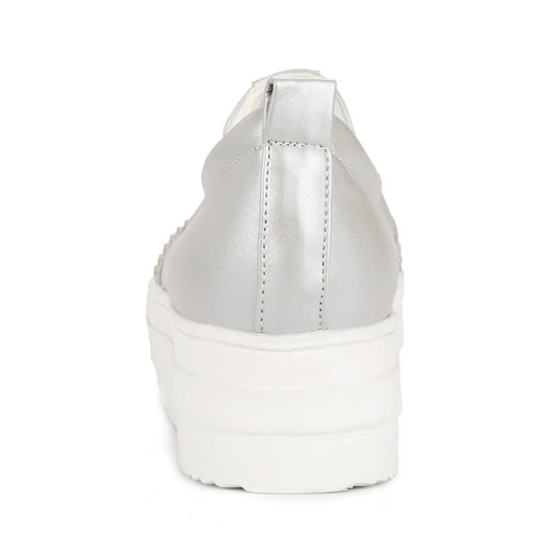 Mujeres silver Otoño Mocasines Tamaño Planos Las Gran De 43 Slip white Zapatos Plataforma 34 On Franja Champagne tqWngpC