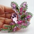 Довольно мода красивые цветные кристалл горный хрусталь цветок лист украшения стиль брошь контактный кулон