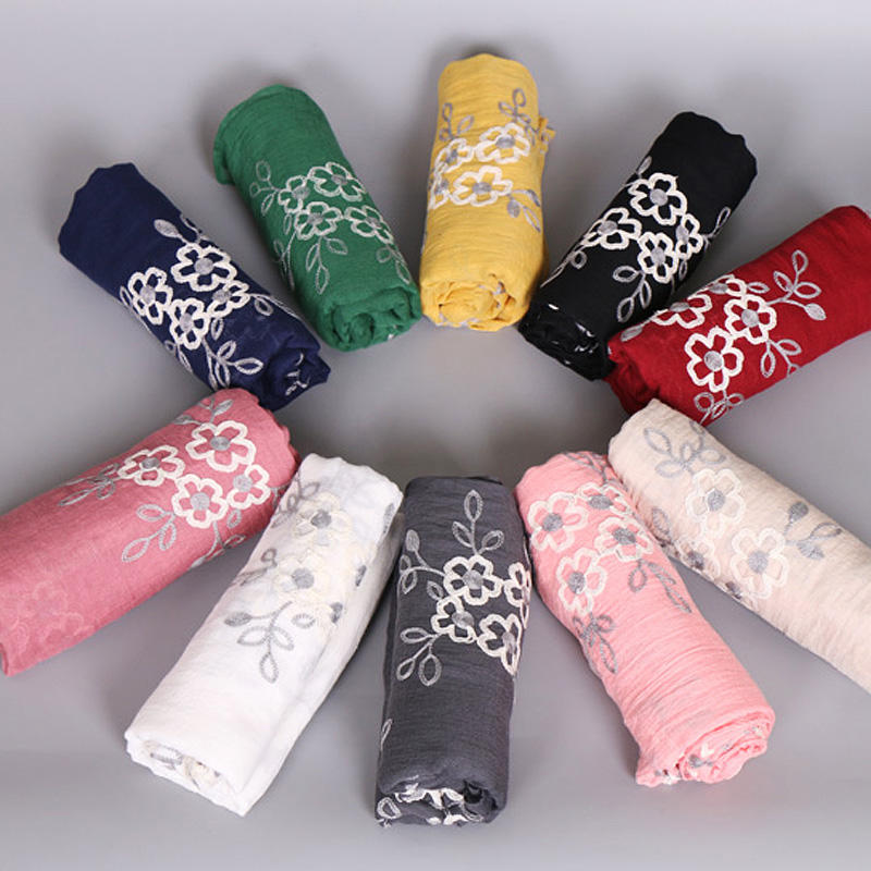 Long popular plain cotton scarf embroidery floral pattern solid color cape autumn muslim hijab popular scarf