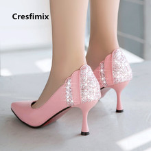 Cresfimix talons hauts women sexy party night club white crystal high heel shoes bridal cute sweet wedding high heel shoes a3110
