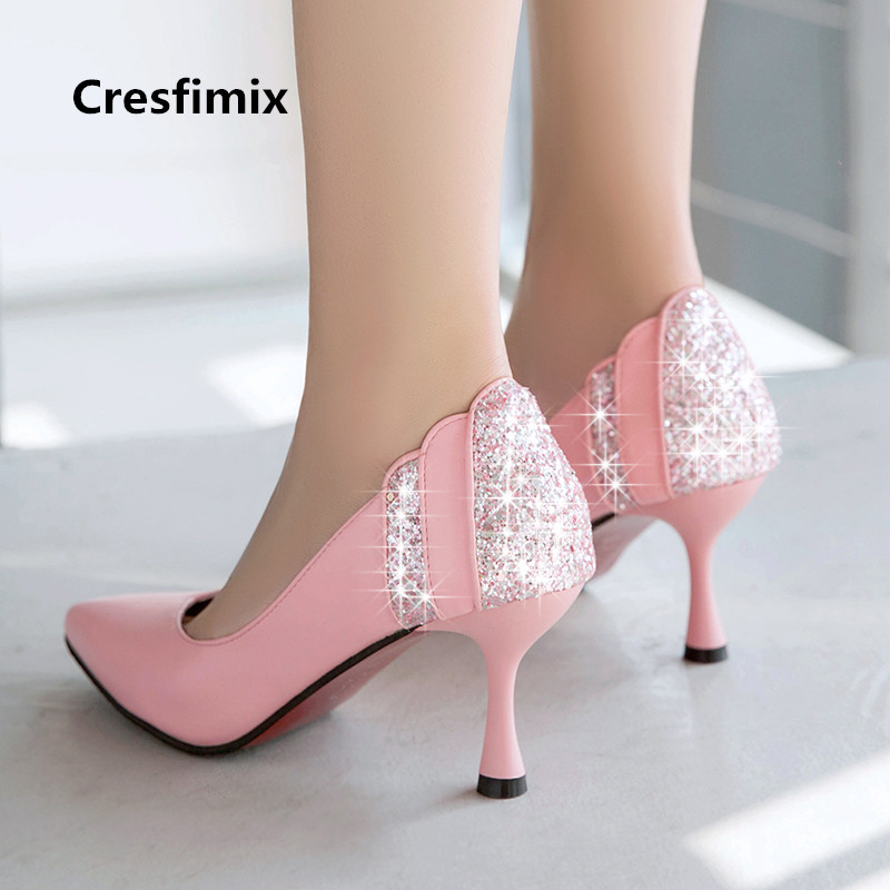 Cresfimix talons hauts women sexy party night club white crystal high heel shoes bridal cute sweet wedding high heel shoes a3110 цена