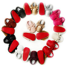 Handmade Soft Bottom Fashion Tassels Baby Moccasin Newborn Babies Shoes 12-colors PU leather Prewalkers Boots