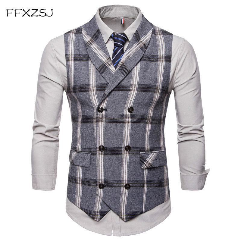 FFXZSJ Tuxedo Vest Plaid Classic Wedding Double-Breasted Mens Gilet Slim-Fit Business