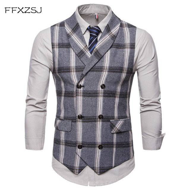 FFXZSJ New Classic Plaid Suit Vest Men Slim Fit Double Breasted Vest Waistcoat Mens Business Wedding Tuxedo Vest Gilet Homme