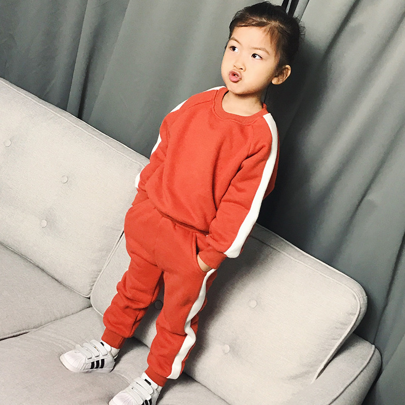 Baby Girls Clothing Sets Side Striped Pants 2017 Atuumn Winter Childrens Wear Cotton Casual Tracksuits Kids Clothes Sports Suit