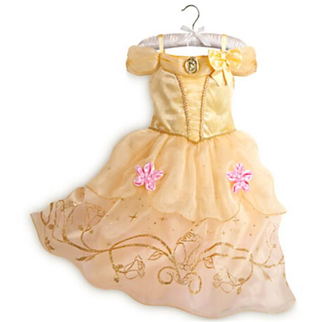 Moda vestidos de fiesta para las niñas los niños traje de carnaval de oro girls princess belle vestido de los niños